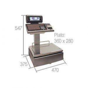 Imagen de las medidas de balanza para comercio, de mostrador, con doble cuerpo e impresora, M-520