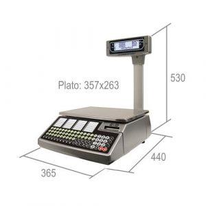 Imagen de las medidas de la balanza para comercio de mostrador con torre e impresora W020
